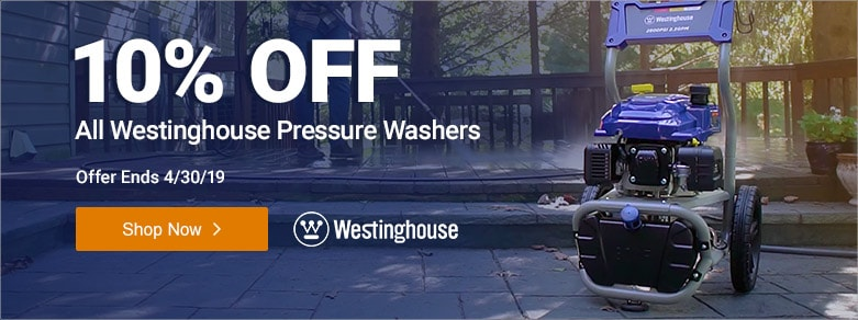 Westinghouse - 10% Off All Pressure Washers
