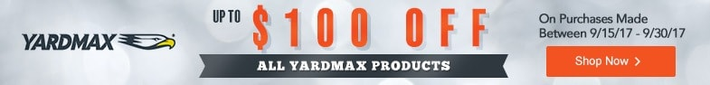 (1) Yardmax - 100$ Off All Products