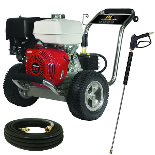 BE Professional 4000 PSI (Gas-Cold Water) Pressure Washer w/ Honda GX Engine & Stainless Steel Frame