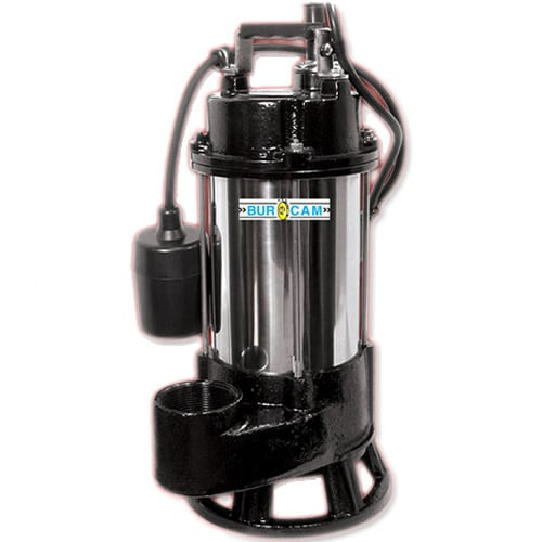 "Bur-Cam 3/4 HP Heavy Duty Cast Iron Stainless Steel Sewage Pump (2"") w/ Piggyback Tether Float"