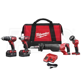 "Milwaukee 2696-24 - M18™ Cordless Lithium-Ion 1/2"" Hammer Drill/Driver, 1/4"" Hex Impact Driver 4-Tool Combo Kit"
