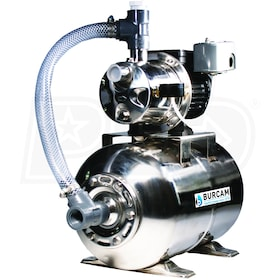 Burcam Pumps 16 GPM 3/4 HP Stainless Steel Shallow Well Jet Pump w/ 6.6 Gal. Stainless Steel Tank