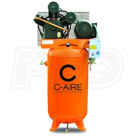 C-Aire 7.5-HP 80-Gallon Two-Stage Air Compressor (208-230V 3-Phase)