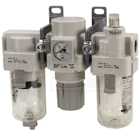 "SMC 3/4"" Filter Regulator Lubricator Air Preparation Combo w/ Standard Manual Drain (0-125 PSI)"