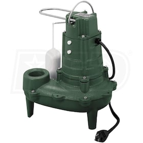 "Zoeller M267 - 1/2 HP Cast Iron Sewage Pump (2"") w/ Vertical Float"
