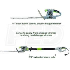 "Earthwise (18"") 2.8-Amp Electric Convertible Pole Hedge Trimmer"