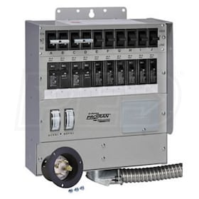 Reliance Controls 30-Amp (120/240V 10-Circuit) Transfer Switch w/ Interchangeable Breakers & Inlet