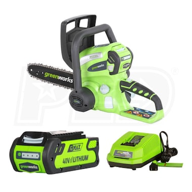 "Greenworks G-Max (12"") 40-Volt, 4Ah Lithium-Ion Cordless Chain Saw w/ Battery & Charger"