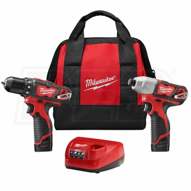"Milwaukee 2494-22 - M12™ Cordless Lithium-Ion 3/8"" Drill/Driver & 1/4"" Hex Impact Driver 2-Tool Combo Kit"