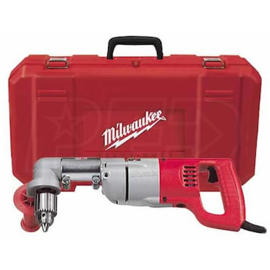 "Milwaukee 3102-6 - 1/2"" D-Handle Right Angle 7A 2-Speed (335/750 RPM) Corded Drill Kit"