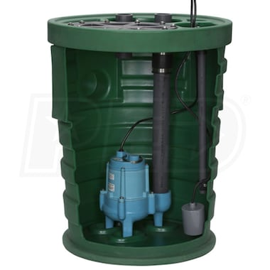 "Little Giant 9JF2V3D - Pit Plus® Jr. 4/10 HP Premium Simplex Sewage System w/ Tether Float Switch (2"" Vent, 3"" Discharge)"