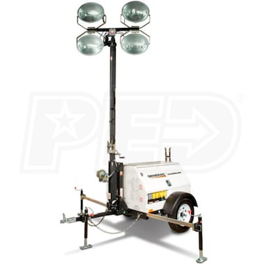 Generac MLT4060M-STD - 6kW Towable Diesel Horizontal Mast Light Tower w/ Mitsubishi Engine & Manual Winch