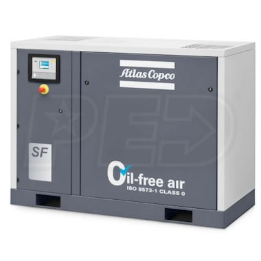 Atlas Copco SF17+ AP HC 7.5-HP To 22-HP Tankless Oil-Free Multi Scroll Air Compressor w/ Elektronikon Controller (200V 3-Phase 100 PSI)