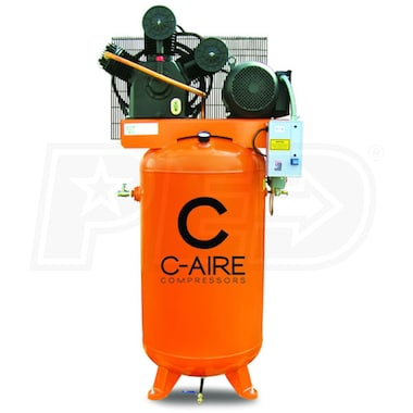 C-Aire 7.5-HP 80-Gallon Two Stage Air Compressor (208-230V 1-Phase) Fully Packaged