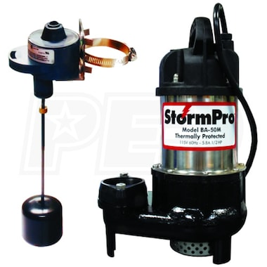 iON 1/2 HP Cast Iron Stainless Steel Sump Pump w/ Adjustable Vertical Float (20' cord) HP20308