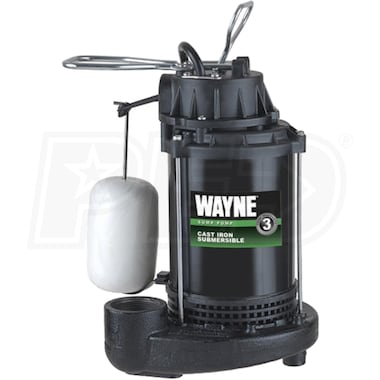 Wayne CDU790 - 1/3 HP Cast Iron Submersible Sump Pump w/ Vertical Float Switch
