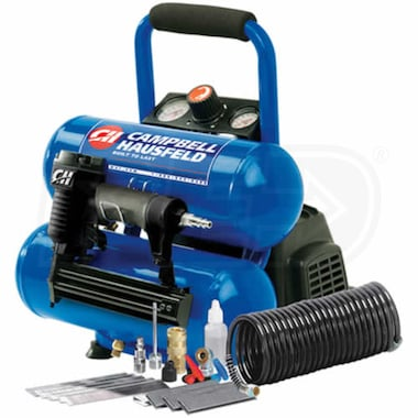Campbell Hausfeld 1-HP 2-Gallon Twin Stack Air Compressor w/ Combination Nailer & Stapler