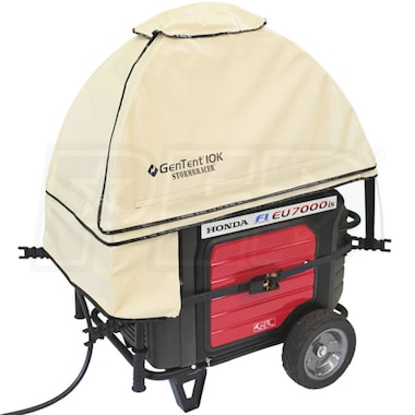 GenTent® 10k Stormbracer® w/ XKi™ Rain/Wet Weather Safety Canopy For 3000W+ Inverter Generators (Tan) - Made in the USA