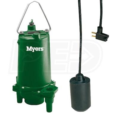 Myers MRG20-21AK - 2 HP Cast Iron Residential Grinder Pump w/ Tether Float Switch (230V)