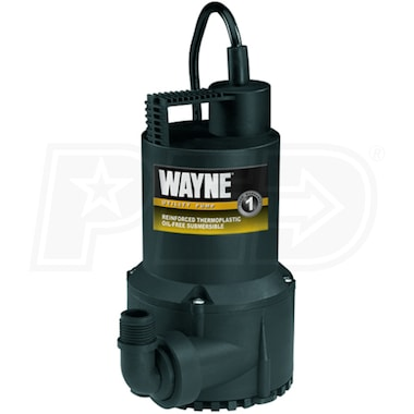 "Wayne RUP160 - 50 GPM (1 1/4"") Oil-Free Submersible Thermoplastic Utility Pump"