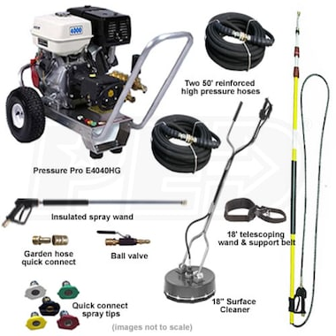 Pressure-Pro Deluxe Start Your Own Pressure Washing Business Kit w/ Aluminum Frame, General Pump & Honda Engine
