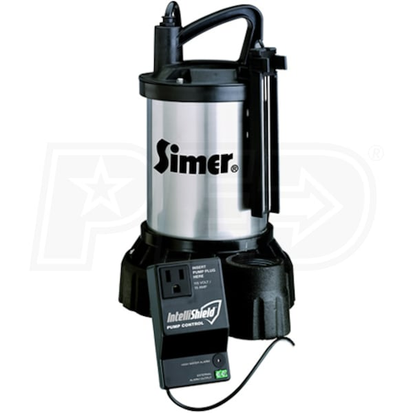 Simer 3989 3 4 Hp Stainless Steel Cast Iron Sump Pump W